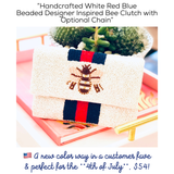 "Handcrafted White Red Blue Beaded Designer Inspired 7"" Bee Clutch with Optional Chain"