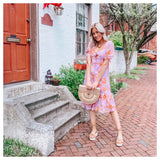 Lavender Blush & Coral Ruffle Hem Button Down Midi Dress with Chiffon Sleeves