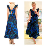 Black & Blue Floral Embroidered Jacquard Flutter Sleeve Maxi Dress with Open Tie Back