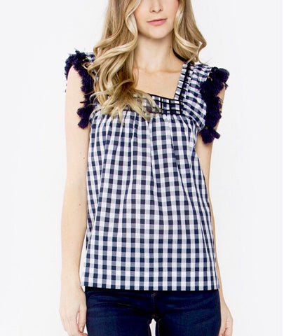 Navy Blue and White Gingham Tassel Sleeveless Top