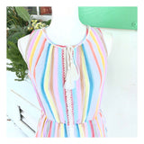 Rainbow Stripe & Metallic Silver Lurex Sleeveless Dress with Tassel Tie & Pockets