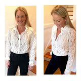 Off White Lace Button Down Top with Chiffon Ruffle Neck  & Sleeve Hem Contrast