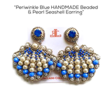 Periwinkle Blue HANDMADE Beaded & Pearl Seashell Earrings