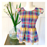 Multicolor Plaid Smocked Flutter Sleeve Peplum Top with Semi Open Button Down Back