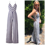 Blue White LINEN Blend Nautical Stripe Jumpsuit with Open Sides