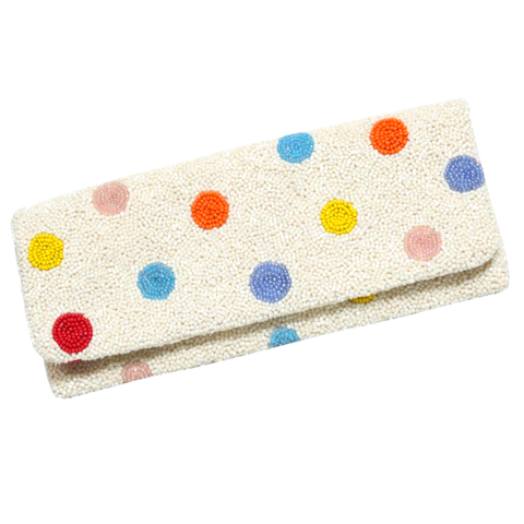 Handmade Tiana Multicolor Polka Dot Fold Over Clutch