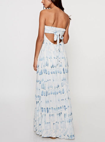 Blue and White Strapless Maxi Dress