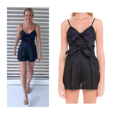 Black Navy Color Block Bow Tie Romper
