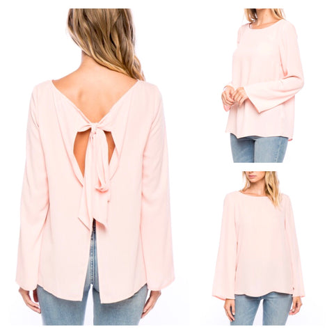 Blush Pink Long Sleeve Blouse with Bow Back