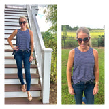 Navy White Stripe Sleeveless Knit Top with Grommets & Side Ties