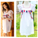 White Floral Embroidered Short Sleeve Shift Dress with Tassel & Gold Charm Appliqués
