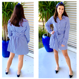 Blue & White Stripe Button Down Shirtdress with Belt Sash