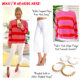 Pink & Red Stripe Fringe Knit Crewneck Sweater