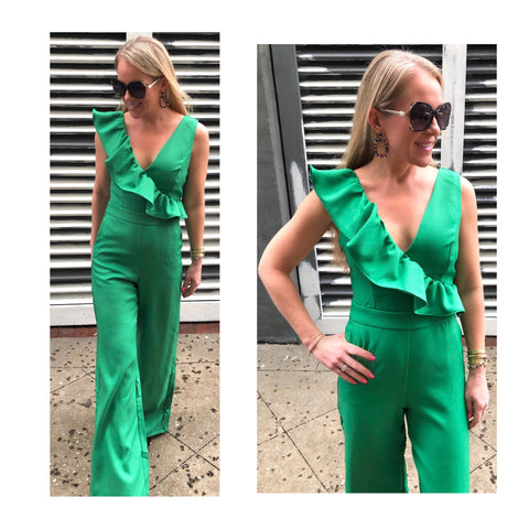 Kelly Green Ruffle Knit Jumpsuit with Banded Waist