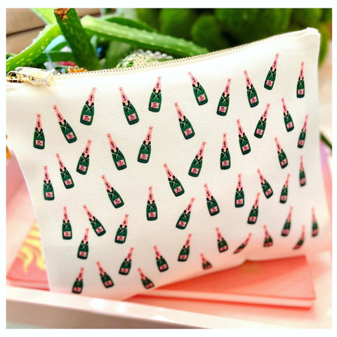 Toss Design White Pink & Green Champagne Bottle Handmade Oversized ZIP Pouch with Gold Bamboo Zipper