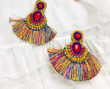 Multicolor Fringe Beaded Chandelier Earrings