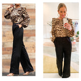 Leopard Print Satin Ruffle Top Jumpsuit with Black Semi Wide Leg Contrast
