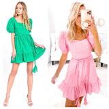 Kelly Green or Pink Puff Sleeve A-Line Ruffle Hem Dress with Braided Belt & Smocked Back