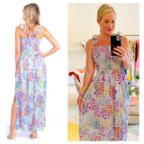 Turquoise Pink Coral & Purple Floral Print Ruffle Hem Smocked Maxi Dress with X-Back Ruffle Straps