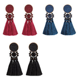 Flat Stone Disc 3 Tier Beaded Tassel Earrings