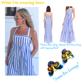 Marine Blue Stripe Shirred Hem Maxi Dress with Crisscross Back & Pockets