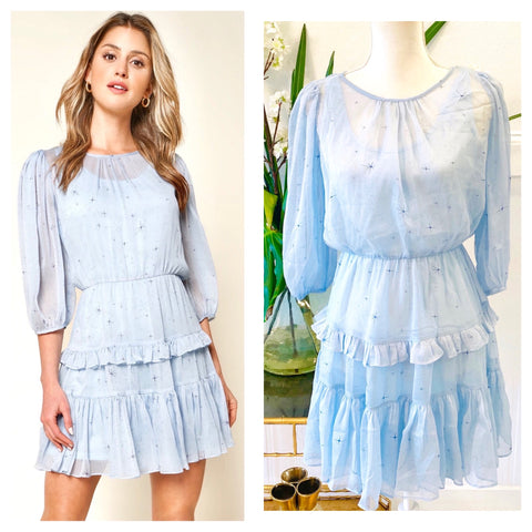 Baby Blue Star Print Ruffle Hem Dress with Semi Sheer Sleeves