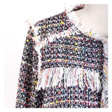 Black & Ivory Confetti Multicolor Tweed Jacket with Metallic Accents & Fringe Hem Detail