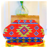 Deep Orange Blue & Lime Embroidered Boho Clutch with Gold Beading