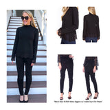 Black Mock Neck Fine Knit Top with Black LACE Sleeve & Hem