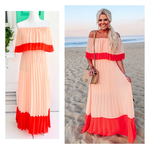 Peach & Coral Pleated Off the Shoulder Maxi Dress
