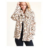 Ivory Leopard Print Faux Fur Swing Jacket with Oversized Basic Collar & Pockets