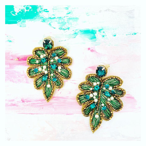 Emerald Gemstone Gold & Pearl Accented Palm Leaf Earrings