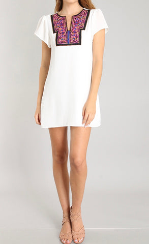 White Embroidered Cocktail Dress - FINAL SALE -