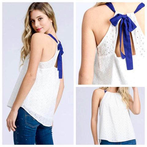 White Eyelet Halter Top with Blue Bow Tie Back
