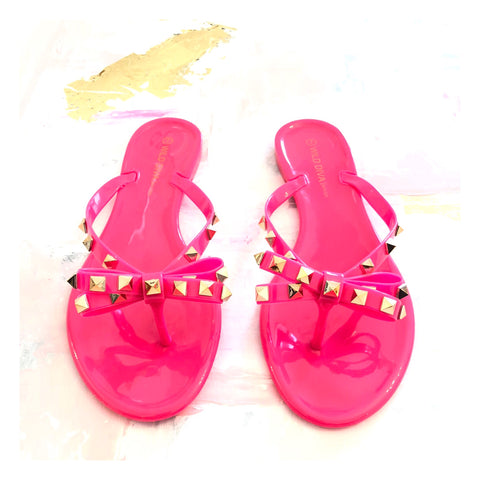 Neon Pink Valentino Inspired Rockstud Bow Sandal
