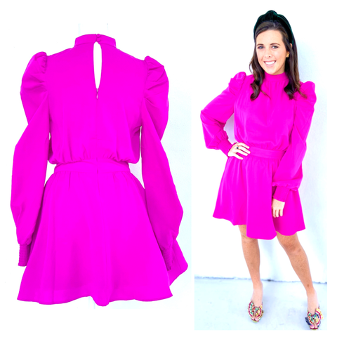 Hot Pink Puff Sleeve Fit & Flare Dress with Smocked Waist & Keyhole Back