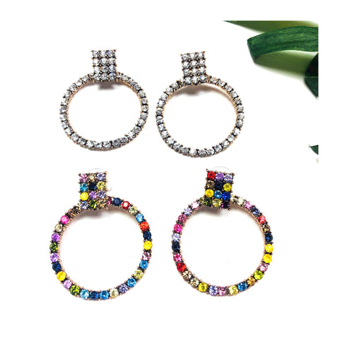 Solitaire Rhinestone OR Multi Crystal Gemstone Open Circle Earrings with Square Cluster Post