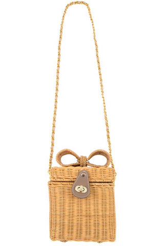 Bamboo Box Purse with Detachable Chain