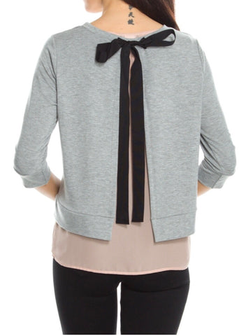 Grey & Taupe Slit Back Top with Tie Back