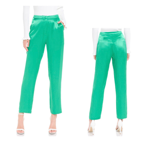 Emerald Green Satiny Mid Rise Cigarette Pants