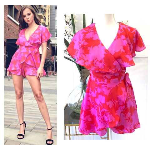 Pink & Red Floral Print Faux Wrap Ruffle Front Romper with Semi Open Back
