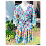 Turquoise Floral Print Pleated Swing Dress with  Belt Sash & Optional Tassel Tie