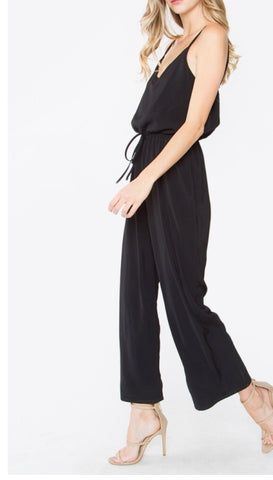 Black Tie Waist Jumpsuit with Scalloped Neckline