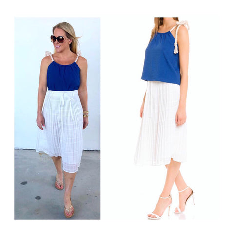 White Textured Stripe Pleated Midi Skirt with Tie Waist