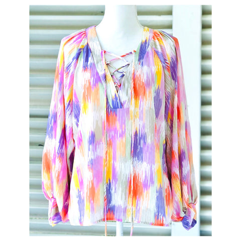 Pastel Abstract Long Sleeve Tunic Top