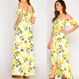 Lemon Print Off the Shoulder Smocked High Low Maxi Dress with Self Tie Waist 🍋