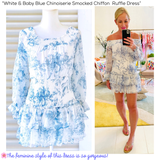 White & Baby Blue Chinoiserie Smocked Chiffon  Ruffle Dress