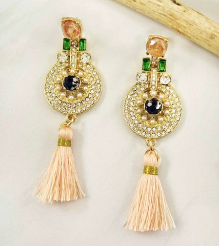 Peach and Rhinestone Art Deco Tassel Earrings