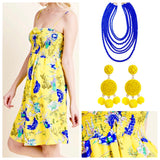 VIBRANT Yellow and Royal Blue Smocked Floral Dress with Spaghetti Straps