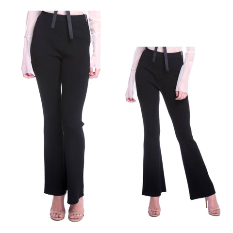 Black Flare Leg Textured Knit Pants with Side Zip